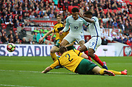 Jermain Defoe of England scoring goal to make it 1-0 during the FIFA World Cup Qualifier group stage match between England and Lithuania at Wembley Stadium, London, England on 26 March 2017. Photo by Matthew Redman.