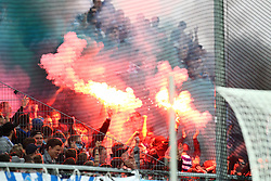 03.10.2014, Scholz Arena, Aalen, GER, 2. FBL, VfR Aalen vs TSV 1860 Muenchen, 9. Runde, im Bild Bengalos und Rauch im 1860 Muenchen Block // during the 2nd German Bundesliga 9th round match between VfR Aalen and TSV 1860 Muenchen at the Scholz Arena in Aalen, Germany on 2014/10/03. EXPA Pictures © 2014, PhotoCredit: EXPA/ Eibner-Pressefoto/ Langer<br /> <br /> *****ATTENTION - OUT of GER*****
