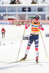 March 16, 2018 - Falun, SVERIGE - 180316 Johannes HÂ¿sflot Kl¾bo, Norge (etta) jublar efter finalen i sprint under Svenska Skidspelen den 16 mars 2018 i Falun  (Credit Image: © Simon HastegRd/Bildbyran via ZUMA Press)
