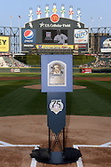 """CHICAGO - AUGUST 2:  The official plaque of 2014 Baseball Hall of Fame Inductee Frank Thomas is displayed for the fans at U.S. Cellular Field during a special """"trip"""" that the plaque took over the weekend of August 2-3, 2014."""
