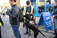 a Sniffer dog and security search fans bags outside Stamford Bridge before k/o. Barclays Premier league match, Chelsea v Norwich city at Stamford Bridge in London on Saturday 21st November 2015.<br /> pic by John Patrick Fletcher, Andrew Orchard sports photography.