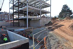 Foundation of Mechanical Room area and North Elevation. Central Connecticut State University. New Academic Building. Project No: BI-RC-324. Architect: Burt Hill Kosar Rittelmann Associates. Contractor: Gilbane, Inc.