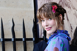 File photo of Milla Jovovich arriving at the Miu Miu 2017/18 Fall Winter Haute Couture show in Paris, France on July 02, 2017. Actress Milla Jovovich has revealed she is pregnant again for a third time, after suffering a loss during her last pregnancy 'due to her age'. Photo by Aurore Marechal/ABACAPRESS.COM