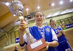 Nika Baric of Celje celebrates with the Cup at finals match of Slovenian 1st Women league between KK Hit Kranjska Gora and ZKK Merkur Celje, on May 14, 2009, in Arena Vitranc, Kranjska Gora, Slovenia. Merkur Celje won the third time and became Slovenian National Champion. (Photo by Vid Ponikvar / Sportida)