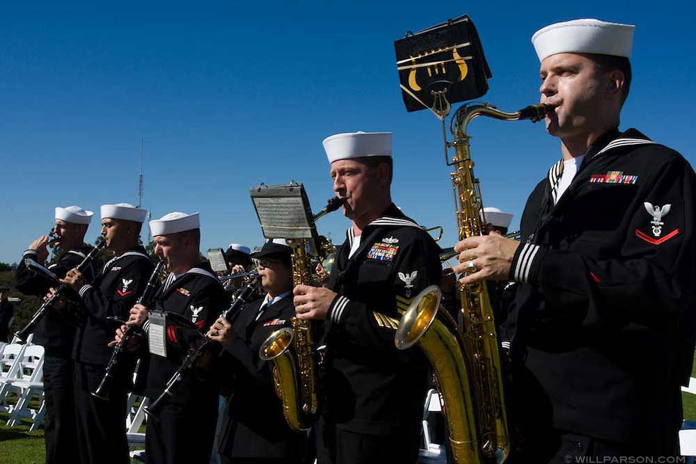 Navy Band Southwest performs during a special ceremony for the late actor Jimmy Stewart on Mt. Soledad in La Jolla, California on November 08, 2008.
