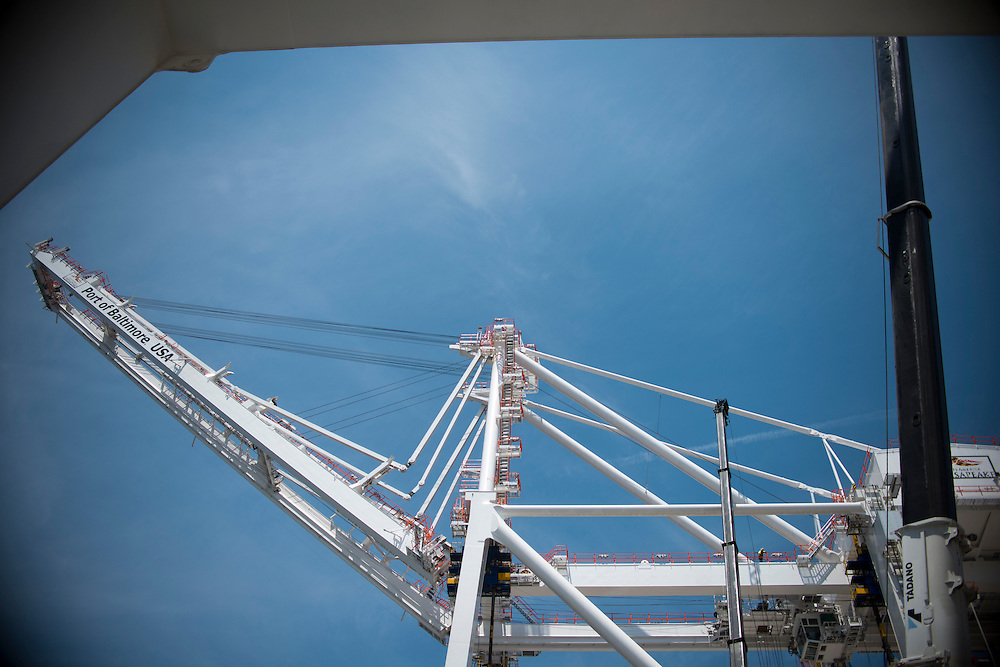 (photo by Matt Roth).Wednesday, July 11, 2012.Assignment ID: 30128574A..Four super-post Panamax cranes -- the largest model built -- are being erected at The Port of Baltimore's Seagirt Marine Terminal Wednesday, July 11, 2012. ..Once the building, testing and training is finished, the Seagirt terminal will join Norfolk, VA as one of the only two ports on the East Coast which can unload new Panamax sized container ships. The cranes are expected to be fully operational in September of this year.