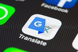 Google translate app close up on iPhone smart phone screen