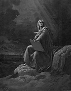 St John on Patmos. Illustration by Gustave Dore for the Bible 1865-6. Wood engraving