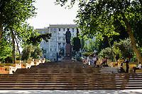 Azerbaijan, Baku. Nizami Park and statue in central Baku.