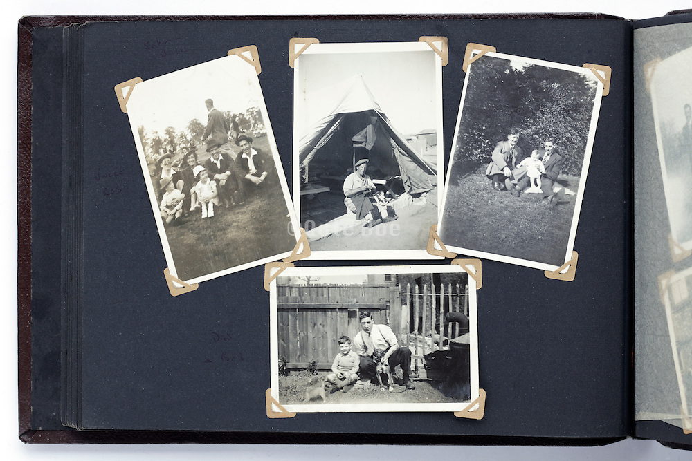 old photo album with various vintage images from the 1940s