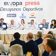 Firma del Convenio entre el CSD y el MAPFRE. Desayuno deportivo de Europa Press en Madrid.