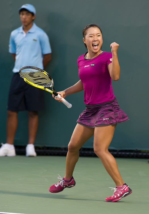 KEY BISCAYNE, FL - March 26: Kurumi Nara (JPN)celebrates after defeating Caroline Garcia (FRA) 63 76(9) to advance to the 3rd round of the 2015 Miami Open at Key Biscayne, FL.  Photographer Andrew Patron - CameraSport/BigShots<br /> <br /> Tennis - 2015 Miami Open presented by Itau - Crandon Park Tennis Center - Key Biscayne, Florida - USA - Day 4, Thursday 26th March 2015<br /> <br /> © CameraSport - 43 Linden Ave. Countesthorpe. Leicester. England. LE8 5PG - Tel: +44 (0) 116 277 4147 - admin@camerasport.com - www.camerasport.com