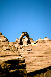 Utah: Arches National Park, Delicate Arch, utarch104      .Photo copyright Lee Foster, www.fostertravel.com, 510/549-2202,  lee@fostertravel.com