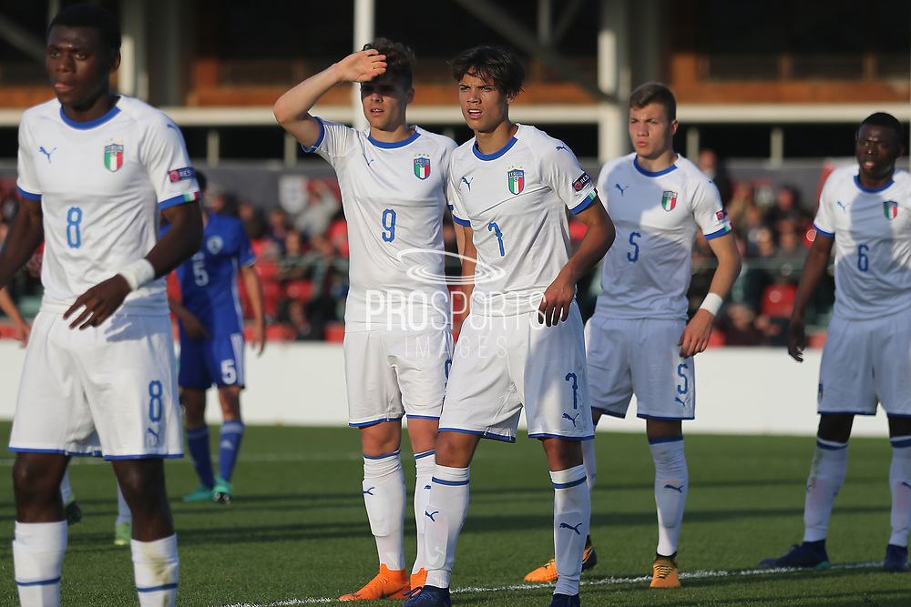 Edoardo Vergani of Italy (9) and Samuele Ricci of Italy (7) defending a corner during the UEFA European Under 17 Championship 2018 match between Israel and Italy at St George's Park National Football Centre, Burton-Upon-Trent, United Kingdom on 10 May 2018. Picture by Mick Haynes.