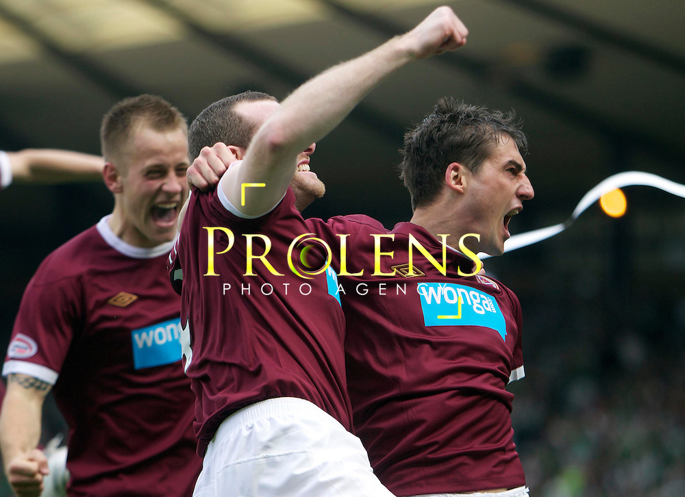 William Hill Scottish FA Cup Semi Final CELTIC FC v HEART OF MIDLOTHIAN FC Season 2011-12.15-04-12..RUDI SKACEL OF HEARTS CELEBRATES WITH CRAIG BEATTIE AFTER SCORING TO MAKE IT 1-0   during the William Hill Scottish FA Cup Semi Final tie between CELTIC FC and HEART OF MIDLOTHIAN FC with the Winner facing   in this years Scottish Cup Final in May...At Hampden Park Stadium , Glasgow..Sunday 15th April 2012.Picture Mark Davison/ Prolens Photo Agency / PLPA