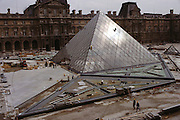 The Louvre pyramid in final stage of construction. Paris, France.