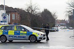 © Licensed to London News Pictures. 04/01/2018. London, UK. Police at the scene in Norfolk Road, Ilford, east London. Police were called last night following reports of an unresponsive woman in the street with stab injuries. She was pronounced dead at the scene at 19:16hrs. Photo credit: Vickie Flores/LNP