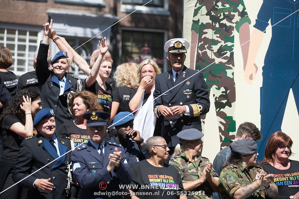 NLD/Amsterdam//20170805 - Gay Pride 2017, Boot Ministerie van Defensie, Minister Jeanine Hennis-Plasschaert