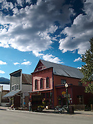 The Company Store and two Adirondack chairs along Elk Avenue, the main thoroughfare of Crested Butte, Colorado.