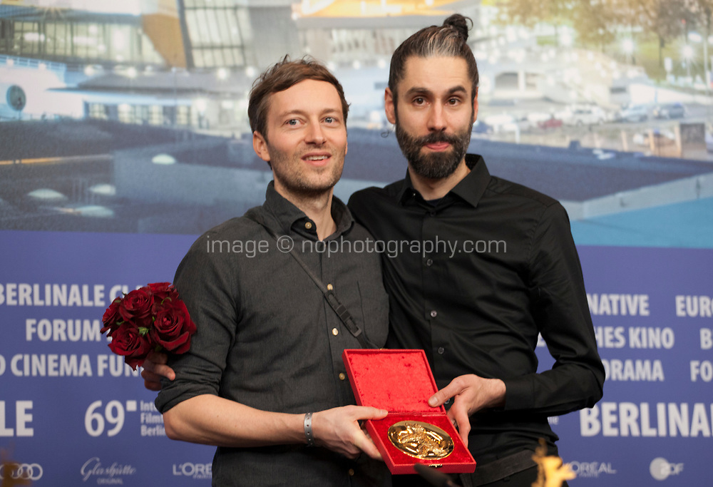 Florian Fischer and Johannes Krell winner of the Golden Bear for Best Short Film for Umbra at the award winners press conference at the 69th Berlinale International Film Festival, on Saturday 16th February 2019, Hotel Grand Hyatt, Berlin, Germany.