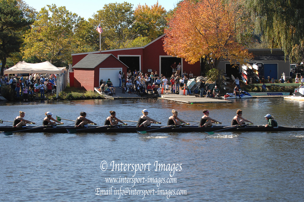 Boston, USA, Collegiate Women's Eights, Hobart College, pass Cambridge Boat Club, at the Head of the Charles Race, Charles River, Cambridge,  Massachusetts. Saturday  21/10/2007 [Mandatory Credit Peter Spurrier/Intersport Images]..... , Rowing Course; Charles River. Boston. USA Cambridge Boat House