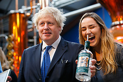 © Licensed to London News Pictures. 17/04/2015. LONDON, UK. Mayor of London and Conservative Party parliamentary candidate for Uxbridge and South Ruislip, Boris Johnson  visiting The Sipsmith Distillery in Chiswick, west London on Friday, 17 April 2015. Photo credit : Tolga Akmen/LNP