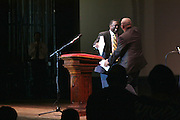 "19 January 2015-Santa Barbara, CA: The Arlington Theater Program;  Introduction of Speaker by Dr. Wallace Shepherd Jr. Pastor, Keynote Speaker, Dr. Broderick A. Huggins, Bishop.  Santa Barbara Honors Dr. Martin Luther King Jr. with a Day of Celebration.  The Santa Barbara MLK, Jr. Committee chose ""Drum Majors for Justice"" as it's theme for the day which included a Pre-March Program in De la Guerra Plaza followed by a march up State Street to the Arlington Theater for speakers, music and poetry.  The program concluded with a Community Lunch at the First United Methodist Church in Santa Barbara.  Photo by Rod Rolle"