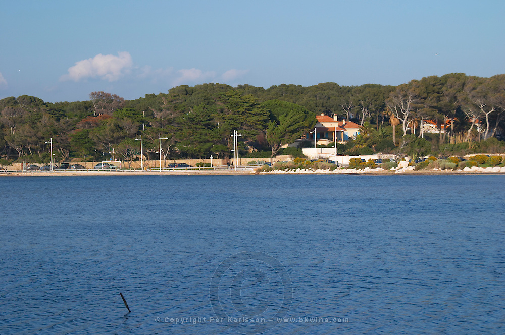 The main building and garden. Seen from across the bay Clos des Iles Le Brusc Six Fours Cote d'Azur Var France