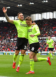 Sheffield United's Kieran Dowell (right) celebrates scoring his side's first goal of the game with Billy Sharp (left) during the Sky Bet Championship match at the bet365 Stadium, Stoke.