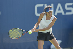 August 22, 2017 - New York, New York, United States - Su-Wei Hsieh of Chinese Taipei Taiwan returns ball during qualifying game against Kelly Chen of USA at US Open 2017  (Credit Image: © Lev Radin/Pacific Press via ZUMA Wire)