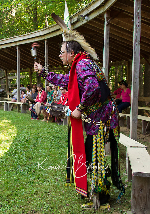 Alan McCartney of Bradford, NH during the Gourd dance at the Laconia Indian Historical Association's Pow Wow in Sanbornton on Sunday afternoon.  (Karen Bobotas/for the Laconia Daily Sun)