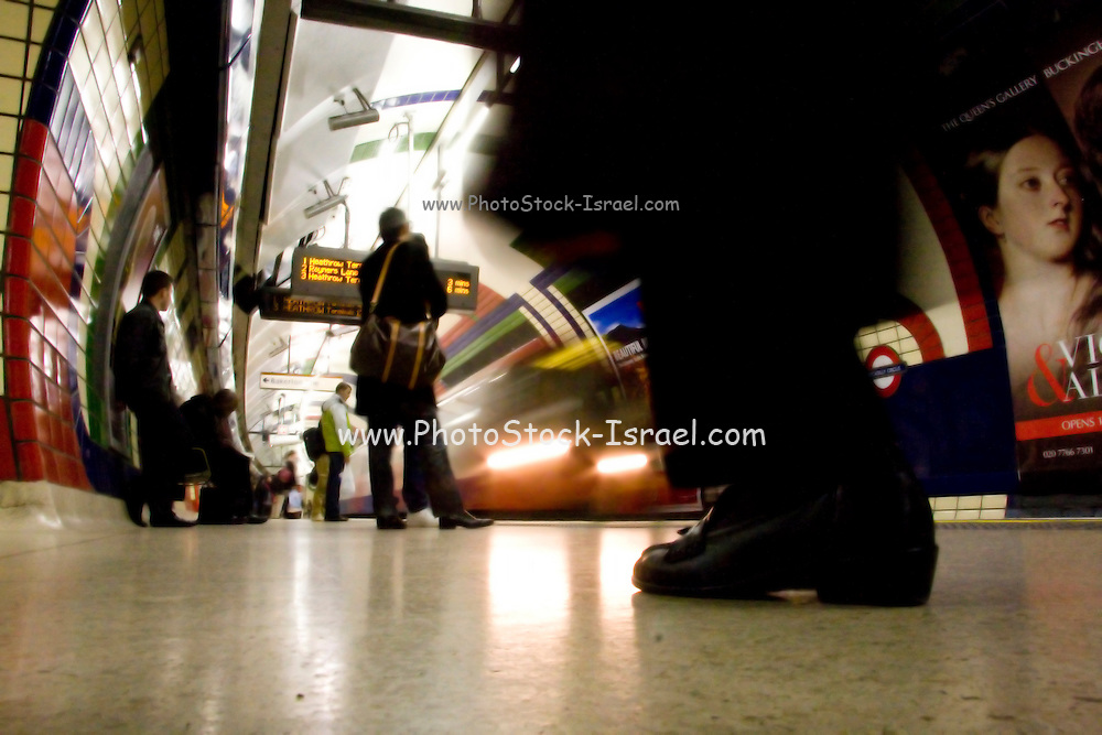 Waiting for a train, The London underground train motion blur