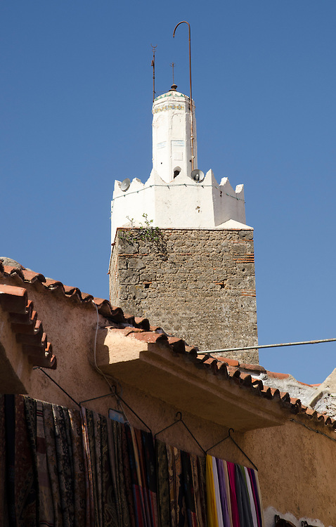 A detail of minaret in Chefchaouen, Morocco