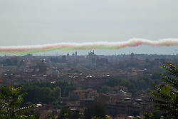 June 2, 2017 - Rome, Italy - On the occasion of the celebrations of anniversary of Italian Republic, the Tricolor Arrows overtake Rome. (Credit Image: © Matteo Nardone/Pacific Press via ZUMA Wire)