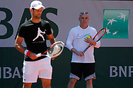 Andre Kirk Agassi (USA) new trainer of Novak Djokovic (SRB) and Novak Djokovic (SRB) at practice on court 5 during the Roland Garros French Tennis Open 2017, preview, on May25, 2017, at the Roland Garros Stadium in Paris, France - Photo Stephane Allaman / ProSportsImages / DPPI