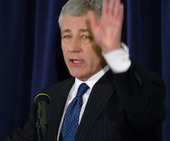 3/12/07 Omaha NE Nebraska Senator Chuck Hagel ends a press conference after he made the announcement that he is waiting to decide about running for President at the University of Nebraska  at Omaha. (photo by Chris Machian/ Prairie Pixel Group)