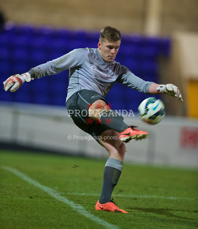 CHESTER, ENGLAND - Wednesday, January 21, 2015: Derby County's goalkeeper Eric Behrens in action against Liverpool during the FA Youth Cup 4th Round match at the Deva Stadium. (Pic by David Rawcliffe/Propaganda)