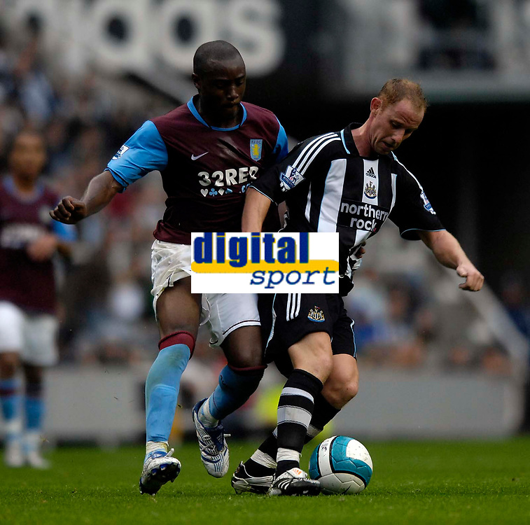 Photo: Jed Wee/Sportsbeat Images.<br /> Newcastle United v Aston Villa. The FA Barclays Premiership. 18/08/2007.<br /> <br /> Newcastle's man of the match Nicky Butt (R) shields the ball from Aston Villa's Nigel Reo-Coker.