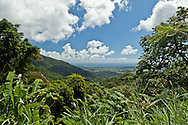 The Caribbean is seen in the distance from this scenic overlook on the road up to the El Yunque National Forest.