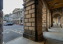 Exterior view of  Parliament Square and the Supreme Courts  Court of Session) in Edinburgh Old Town, Scotland, UK