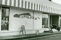 1987 Painting the window ad at Hollywood Fantasy Tours office