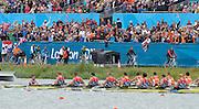 Eton Dorney, Windsor, Great Britain,..2012 London Olympic Regatta, Dorney Lake. Eton Rowing Centre, Berkshire[ Rowing]...Description;  Men's Eights Final...GBR.M8+ Alex PARTRIDGE (b) , James FOAD (2) , Tom RANSLEY (3) , Richard EGINGTON (4) , Mohamed SBIHI (5) , Greg SEARLE (6) , Matt LANGRIDGE (7) , Constantine LOULOUDIS (s) , Phelan HILL (c).USA.M8+ David BANKS (b) , Grant JAMES (2) , Ross JAMES (3) , William MILLER (4) , Giuseppe LANZONE (5) , Stephen KASPRZYK (6) , Jacob CORNELIUS (7) , Brett NEWLIN (s) , Zachary VLAHOS (c).NED.M8+. Sjoerd HAMBURGER (b) , Diederik SIMON (2) , Rogier BLINK (3) , Matthijs VELLENGA (4) , Roel BRAAS (5) , Jozef KLAASSEN (6) , Olivier SIEGELAAR (7) , Mitchel STEENMAN (s) , Peter WIERSUM (c).  Dorney Lake. 12:35:26  Wednesday  01/08/2012.  [Mandatory Credit: Peter Spurrier/Intersport Images].Dorney Lake, Eton, Great Britain...Venue, Rowing, 2012 London Olympic Regatta...