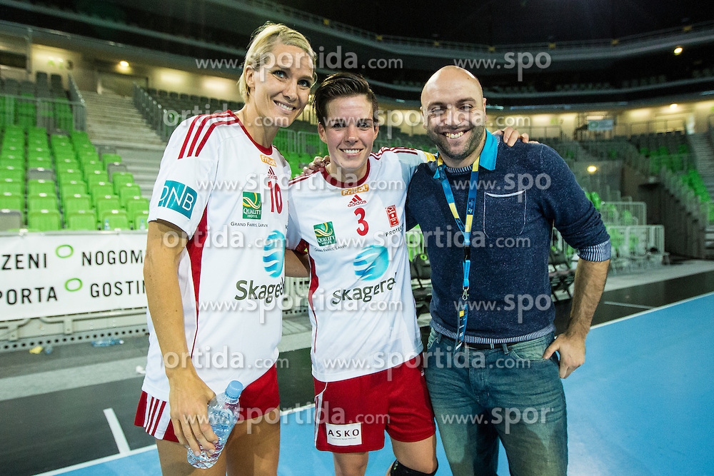 Hammerseng G. and Hammerseng A. of Larvik during handball match between RK Krim Mercator (SLO) and Larvik (NOR) in 3rd Round of Women's EHF Champions League 2015/16, on October 30, 2015 in Arena Stozice, Ljubljana, Slovenia. Photo by Grega Valancic / Sportida