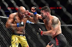 "Chris ""The All-American"" Weidman (red gloves) vs. Ronaldo ""Jacare"" Souza (blue gloves) during UFC 230 at Madison Square Garden."