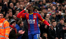 Crystal Palace's Wilfried Zaha reacts during the Premier League match at Selhurst Park, London.