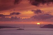 Sunset over the Golden Gate Bridge, Farallon Islands, and San Francisco Bay, California