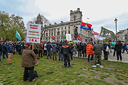 London, UK, May, 8, 2021 — British war veterans and People from different walks of life are taking part in a 'Respect our Veterans' march in Parliament Square, central London on Saturday, May 8, 2021. The march follows the collapse of the controversial trial earlier this week against two paratroopers accused of murdering Official IRA leader Joe McCann in 1972. (Photo/ Vudi Xhymshiti)