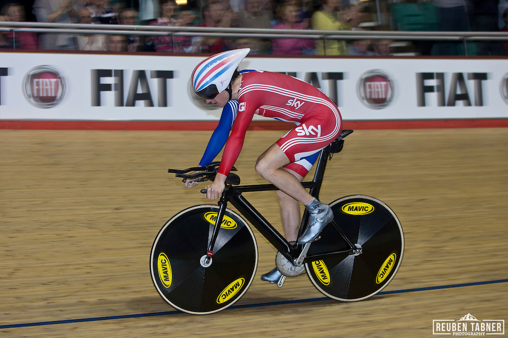 Geraint Thomas of Great Britain, is left with the Silver after being beaten by Australian, Rohan Dennis in the Mens Individual Pursuit, against Geraint Thomas of Great Britain. UCI Track Cycling World Cup, Manchester.