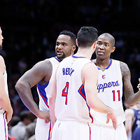 23 February 2015: Los Angeles Clippers forward Hedo Turkoglu (15), Los Angeles Clippers forward Glen Davis (0), Los Angeles Clippers guard J.J. Redick (4) and Los Angeles Clippers guard Jamal Crawford (11) are seen during the Memphis Grizzlies 90-87 victory over the Los Angeles Clippers, at the Staples Center, Los Angeles, California, USA.