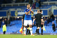 Ashley Williams of Everton looks dejected after the final whistle. EFL Cup, 3rd round match, Everton v Norwich city at Goodison Park in Liverpool, Merseyside on Tuesday 20th September 2016.<br /> pic by Chris Stading, Andrew Orchard sports photography.